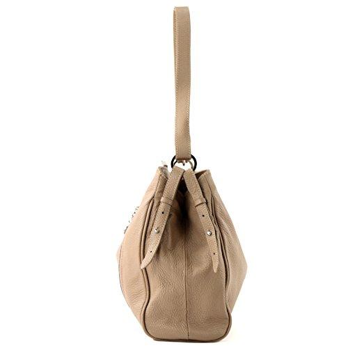 modamoda de - ital. Ledertasche Damentasche Umhängetasche Tasche Schultertasche Leder T119 Braunbeige