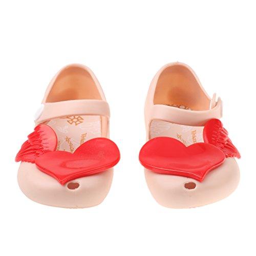 Sandales Gelée Fille Enfant Chaussures de Plage Pluie Léger avec Bouche de Poisson Rose