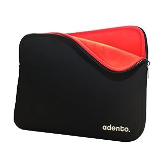 Adento Neopren 13'' Laptoptasche, MacBook Air/Pro 13'' / Ultrabook 13'' Hülle in schwarz mit samtig weichem, rotem Premium Innenfutter (schwarz/rot)