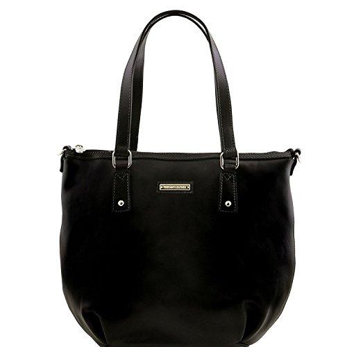 Tuscany Leather Olga - Borsa shopping in pelle - Misura Grande - TL141484 (Testa di Moro) Nero