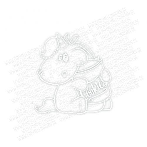 Pummel & Friends - Autosticker (weiß) - Pummeleinhorn (Keksdose)