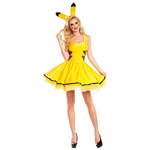 HYMZP Kostüm Damen, Erwachsene Frau Halloween Pikachu Kostüm Cosplay Kostüm, Karneval Sexy Bühnenshow Kleid,M