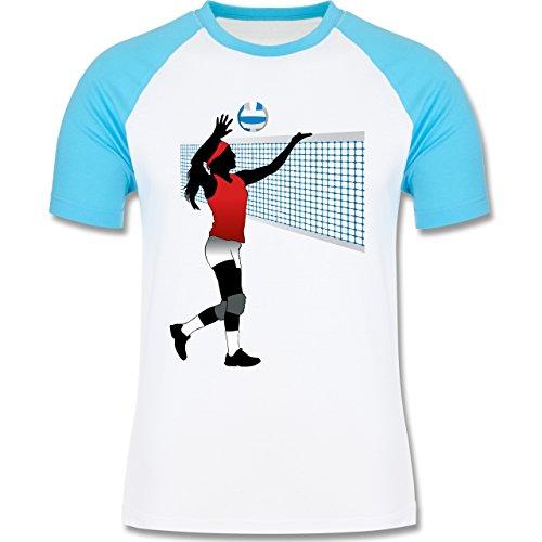 Volleyball - Volleyballspielerin Netz Ball - zweifarbiges Baseballshirt für Männer Weiß/Türkis