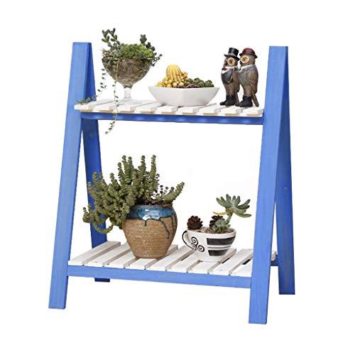 XAJGW 2 Tier faltender hölzerner Betriebsstand-hölzerner Organisator-Blumen-Topf-Stand-Betriebsregal-Gestell-Leiter-Garten zuhause draußen (Farbe : Style B)