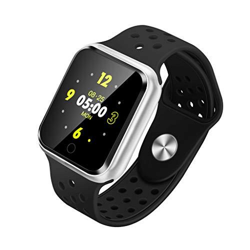 Herren und Damen Smart Watch 1,3 Zoll-Smart Watch Android iOS Health Blutdruck-Herzfrequenz-Messgerät Pedometer Sport Tracker Smart Watch/Silicone Strap/Gekrümmter Bildschirm (Silver)
