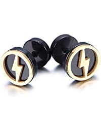 K Mega Jewelry 10mm Stainless Steel Stud Hoop Mens Earrings, Black, Gold, Flash KE908