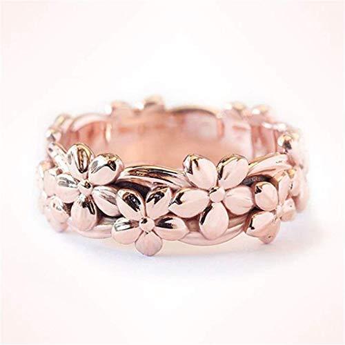 Missoul Engagement Rings Flower Shaped Plum Blossom Diamond Rings for Women Rings for Womens Silver Jewellery for Women Costume Jewellery Valentine Wedding (6)