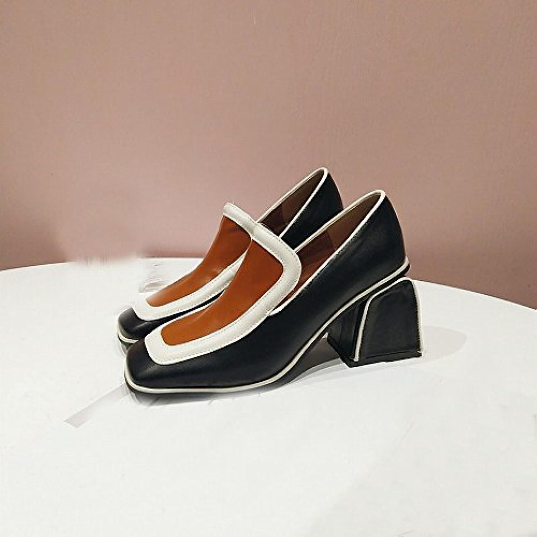 DHG Zapatos de Tacón Bajo de Primavera Literaria Simple Cuadrado de Boca Baja Solo Zapatos Femeninos,UN,37