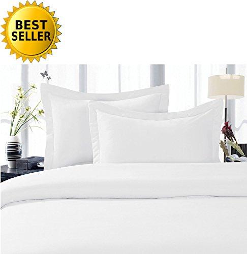 Celine Leinen® Best, Weichsten, coziest Bettbezug Ever. 1500Fadenzahl Ägyptische Qualität Luxus Super Weich knitterfreies 3-teilig Bettbezug Set, Full/Queen, weiß