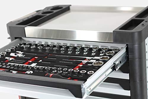 Ultra Edition Werkstattwagen | 7 Schubladen - 5 gefüllt mit Handwerkzeug | Werkzeugwagen abschließbar + COB Akku Arbeitsleuchte - 2