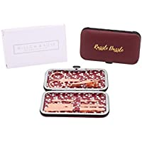 Razzle Travel Manicure Gift Set For Her Nail File Clipper Pedicure Rose Gold Red