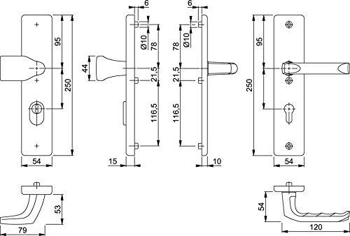 Hoppe Schutzgarnitur London 78G/2222A/2440/113 | Ausführung: Wechselgarnitur | Entfernung (mm): 72 | Oberfläche: Aluminium F1 -