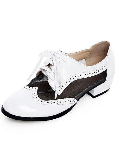 ZQ Scarpe Donna - Stringate - Ufficio e lavoro / Formale / Casual - Punta arrotondata / Chiusa / Cinturino alla caviglia - Basso -Finta , white-us10.5 / eu42 / uk8.5 / cn43 , white-us10.5 / eu42 / uk8 black-us7.5 / eu38 / uk5.5 / cn38