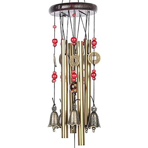 Candora Bronze cour Jardin extérieur Carillon -4tubes 5cloches 60cm- chinois traditionnel–Apportent Bonne Chance pour famille