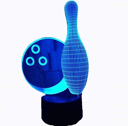3D Bowling Nachtlicht 7 Farben Ändern Usb Power Touch Schalter Decor Lampe Led Tisch Schreibtischlampe Brithday Kinder Kinder Weihnachten Weihnachtsgeschenk Bowling-art-deco