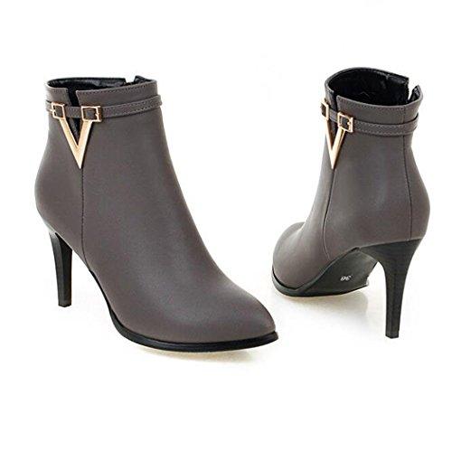 ZQ@QXSuggerimento della settimana per lo stile raffinato con clip per cintura e nudo stivali Donna stivali Grey
