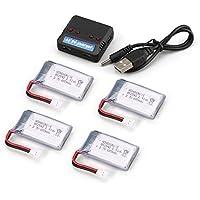 Cable USB, 4 Piezas 3.7V 650mAh batería + 4 en 1 Cargador USB para Syma X5 X5C X5SC X5SW MJX X705C RC Drone Quadcopter Repuestos de batería