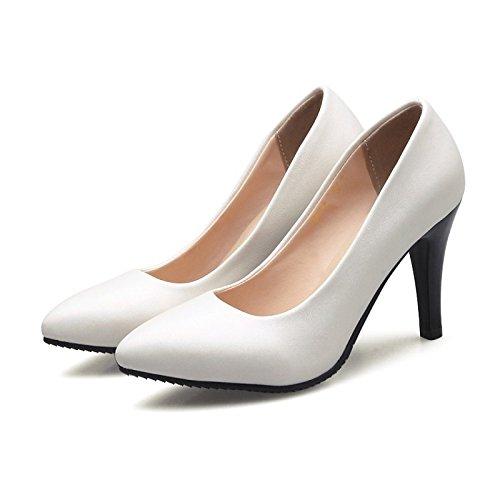 DIMAOL Scarpe Donna Similpelle Molla Pompa di Base Tacchi Stiletto Heel Punta per Office & Carriera Vestito Bianco Beige Il beige