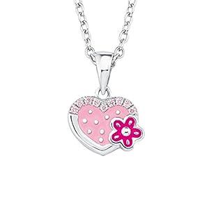Prinzessin Lillifee Mädchen-Kette 35+3cm mit Anhänger Herz Blume 925 Sterling Silber Zirkonia rosa