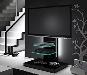 tv lowboard rack schwarz hochglanz mit tv halterung led beleuchtung k che haushalt. Black Bedroom Furniture Sets. Home Design Ideas
