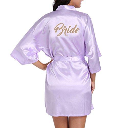 Fangcheng Fashio Bridal Party Robe Brief Braut auf der Robe Zurück Frauen Short Satin Hochzeit Kimono Nachtwäsche Spa Roben für Damen Licht Lila M (König Robe Lila)