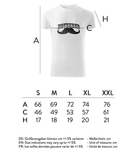 Herren Movember Shirt No1 schwarz & weiß Motiv - T-Shirt Poloshirt mit Motiv - Neu S - XXL Weiß