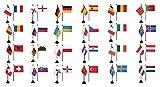 Flaggenfritze® Tischfahnen Set EM 2016 - 10 x 15 cm, alle 24 Nationen + gratis Sticker