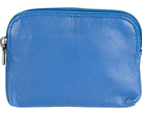 Soft Leather Zip Top Coin and Credit Card Purse (Bright Blue)