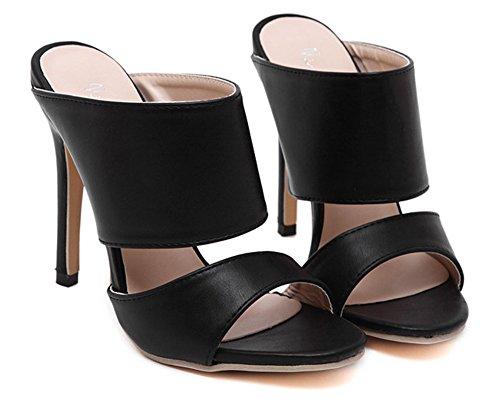 Aisun Damen Offene Zehe Stiletto Fashion Mules Stiletto Sandalen Schwarz