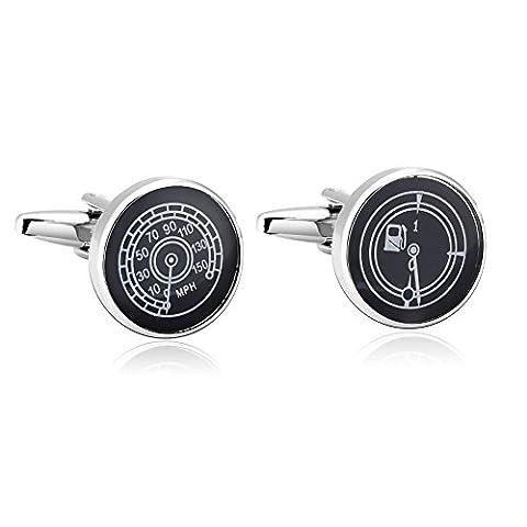 AMDXD Bijoux en acier inoxydable Boutons de manchette ronds pour homme Noir Blanc Manchette 1.7x 1.7cm