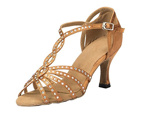 T-strap Minitoo Damen Abendkleid, Satin, Party/Brautmode Hochzeit, Brautjungfer Sandalen Beige