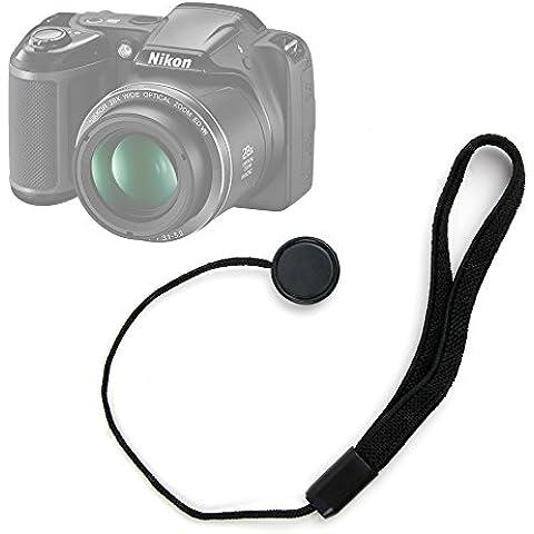 DURAGADGET Correa de mano de tapa / cubierta para lente / objetivo de Cámara Nikon L340 / D810