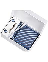 Coffret Cadeau Philadelphie - Cravate aspect gris métallisé à rayures blanches, bleues et bleu clair, boutons de manchette, pince à cravate, pochette de costume