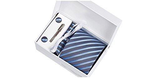 Coffret Philadelphie - Cravate aspect gris métallisé à rayures blanches, bleues et bleu clair, boutons de manchette, pince à cravate, pochette de cost