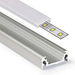 2m Aluprofil SURFACE (SU) 2 Meter Aluminium Profil-Leiste eloxiert für LED Streifen - Set inkl Abdeckung-Schiene milchig-weiß opal mit Montage-Klammern und Endkappen (2 Meter milchig click)