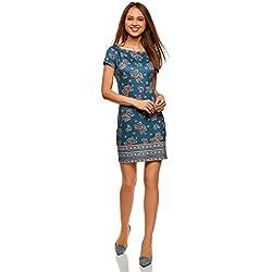 oodji Ultra Mujer Vestido de Punto con Escote Barco, Azul, ES 38 / S