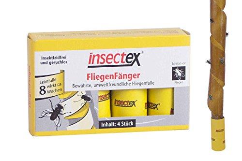 Insectex® Fliegen Fänger 4er Pack Fliegenfalle Leimfalle Giftfrei Leimband Umweltfreundlich