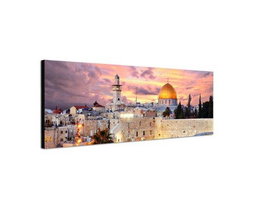Jerusalem Christentum Gelobtes Land Klagemauer 150x50cm Panorama Wandbild auf Leinwand und Keilrahmen fertig zum aufhängen - Unsere Bilder auf Leinwand bestechen durch ihre ungewöhnlichen Formate und den extrem detaillierten Druck aus bis zu 100 Megapixel hoch aufgelösten Fotos.