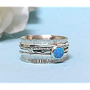 FloweRainboW Statement Ring – Opal Spinner Ring – Sterling Silber 925 Ring – Breiter Trauring/Hochzeitsring/Ehering
