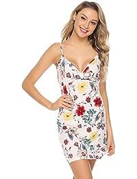 7d07f45c7a Abollria Camisón Mujer Verano Vestido De Pijama Floral Impreso Sin Manga  Camisola Escote Falda Cuello V