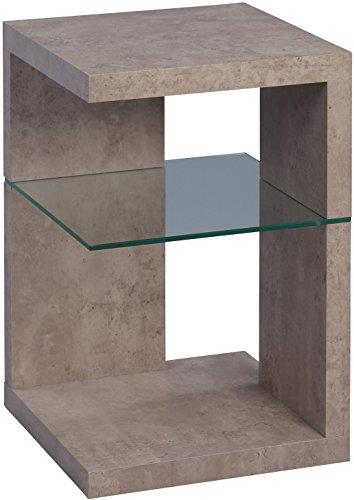 Beistelltisch / Nachttisch Domingo, 40x60x40cm, MDF Dekor Betonoptik