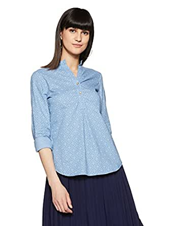 Styleville.in  Women's semi formal shirt with roll sleeve (STSF401640-Blue-S)
