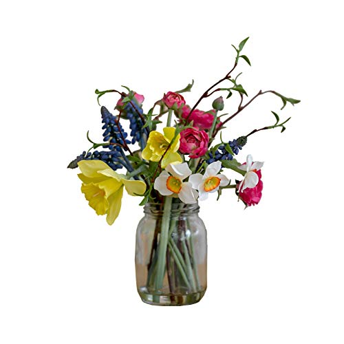 Bloom Artificial Colourful Mixed Spring Jar Artificial Silk Flowers Faux Flowers That Look Real Rustic Wedding Flowers Decorations Artificial Foliage Flower Arrangement Vase Included Buy Online In El Salvador At