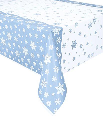 stoff mit Schneeflocken Tischdecke One Size blau/weiß ()