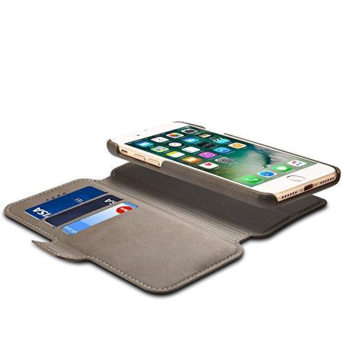 Iphone 6/6s Hülle und Brieftasche ,VENTER® herausnehmbare Schutzhülle, 2 Aufstellmöglichkeiten, Schutz, Hochwertiges Kunstleder, Geschenkverpackung grau