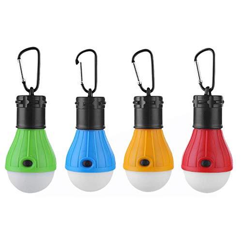 Zeltlampe,LED Campinglampe,4 STÜCKE 3-LED Tragbare Wasserdichte Batteriebetriebene Campinglampe Licht mit Karabiner für Notfall Angeln Abenteuer Jagd Wandern Outdoor (Camping Für Notfall-zelte)