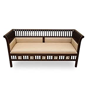 Exclusivelane Teak Wood 3 Seater Sofa With Dhokra Work