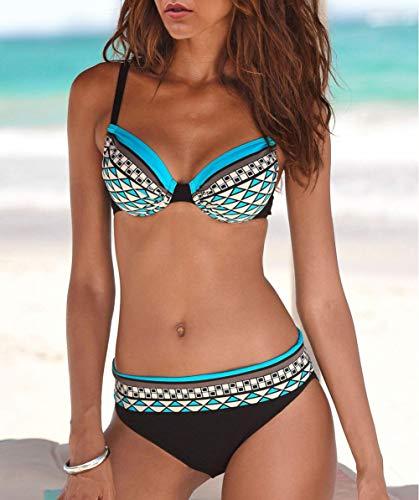 Lovezesent Damen Bikini Sets Boho Tribal Print Bademode Badeanzug mit Bikini Bottom 2 Stück Gr. 50, blau - 2