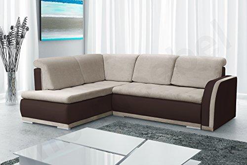Ecksofa Sofa Eckcouch Couch mit Schlaffunktion und Bettkasten Ottomane L-Form Schlafsofa Bettsofa Polstergarnitur - VERO II (Ecksofa Links, Beige + Braun)
