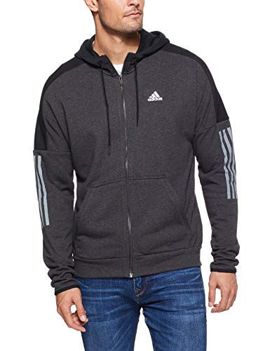 adidas Herren Sports ID Logo Full Zip French Terry Kapuzen-Sweatshirt, Melange/Black, M Terry Sweatshirt